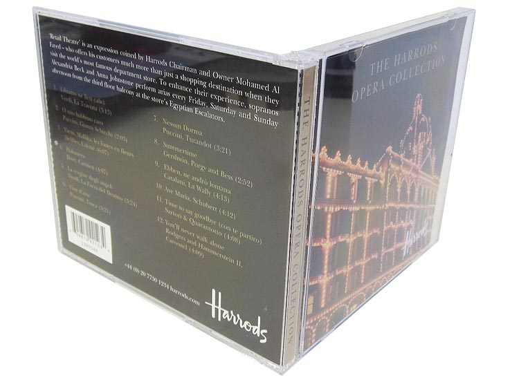 Harrods jewel case with CD and booklet standing