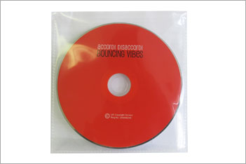 Red CD in clear plastic wallet