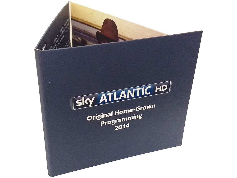 Sky atlantic 6 panel cardboard wallet with DVD duplication