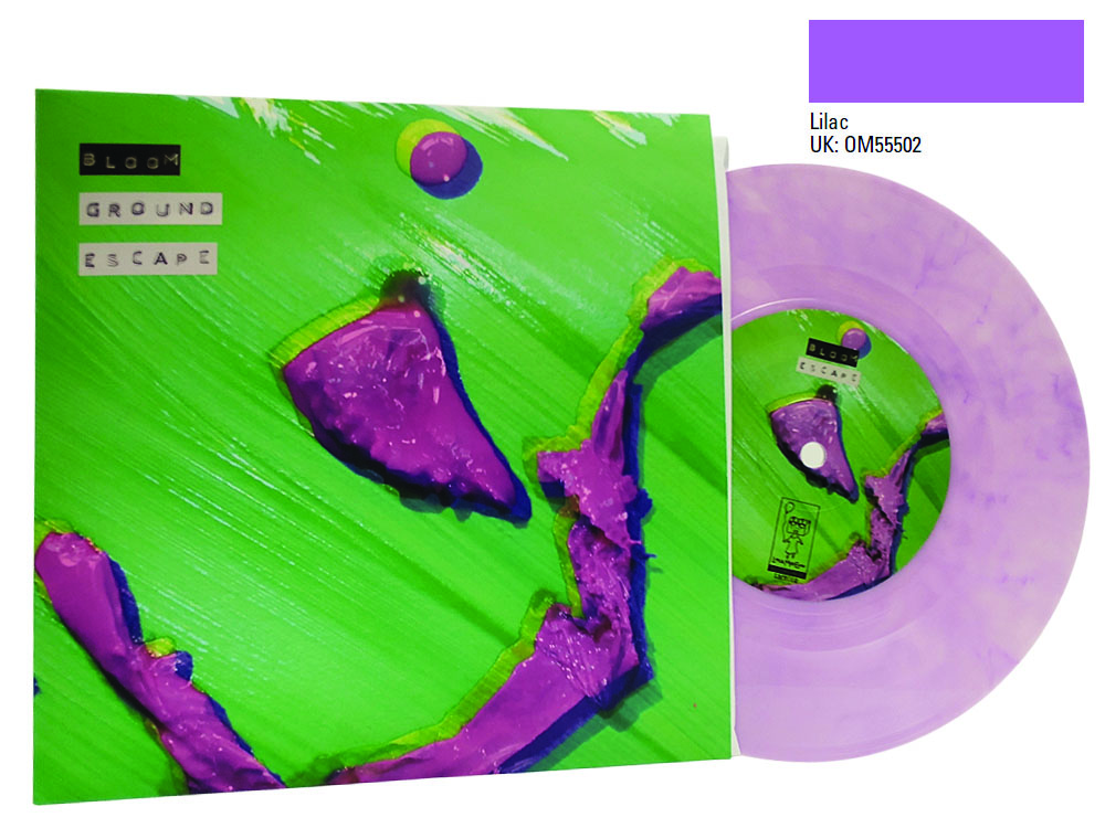Printed 7 inch sleeve with lilac colour vinyl Bloom