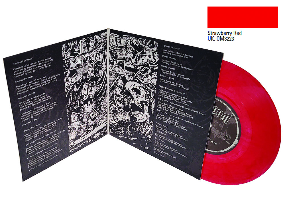 7 inch colour vinyl pressing strawberry red with gatefold sleeve Doom