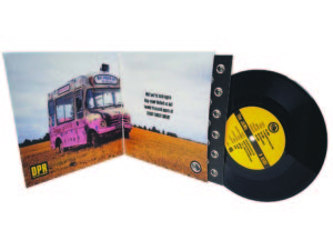 gatefold 7 inch sleeve with record and printed inner